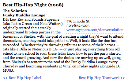 .:Westword's Best Hip Hop Night in Denver - 2008:.